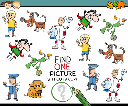 exam: Cartoon Illustration of Educational Game of Single Picture Finding for Preschool Children Illustration