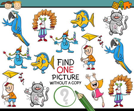 single child: Cartoon Illustration of Finding Single Picture without a Copy Educational Game for Kids