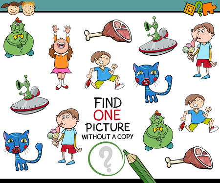 single child: Cartoon Illustration of Educational Game of Finding Single Picture without a Copy for Preschool Children