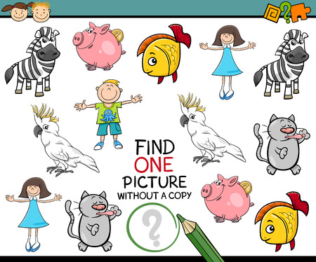 mental object: Cartoon Illustration of Finding Picture without a Pair Educational Game for Preschool Children