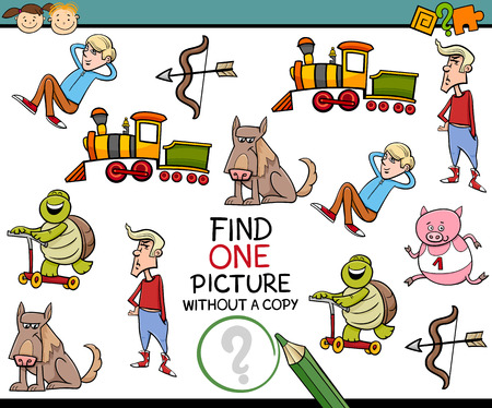 riddles: Cartoon Illustration of Educational Game of Picture without Copy Finding for Preschool Children