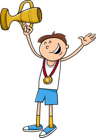 ganador: Ilustraci�n de dibujos animados feliz del muchacho Ganador con Medalla de Oro y Copa