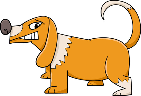 Cartoon Illustration of Funny Sneering Dog Illustration