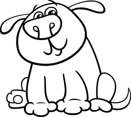 puppy: Black and White Cartoon Illustration of Funny Dog or Puppy for Coloring Book