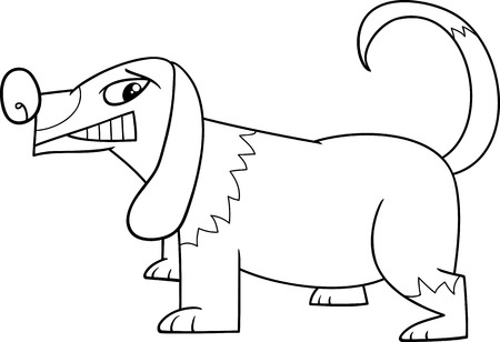 sneer: Black and White Cartoon Illustration of Funny Sneering Dog for Coloring Book