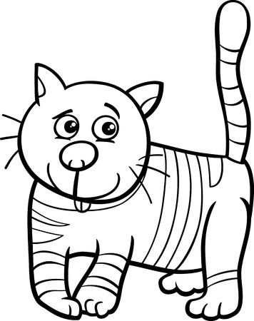 Ilustración De Dibujos Animados De Blanco Y Negro Divertida Del Gato ...