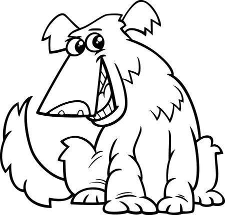 shaggy dog: Black and White Cartoon Illustration of Funny Shaggy Sitting Dog for Coloring Book Illustration