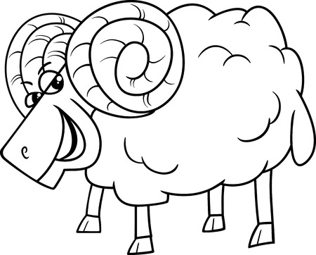 animal ram: Black and White Cartoon Illustration of Funny Ram Farm Animal Character for Coloring Book