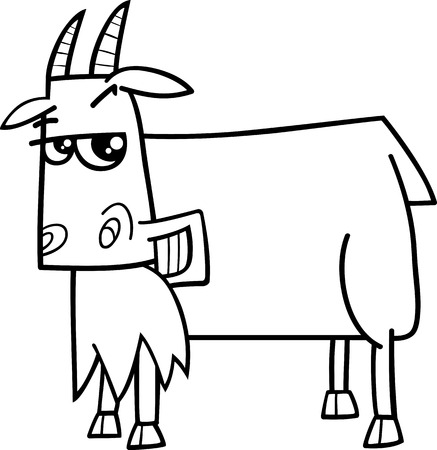 smiling goat: Black and White Cartoon Illustration of Funny Goat Farm Animal Character for Coloring Book
