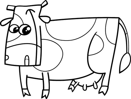 milker: Black and White Cartoon Illustration of Funny Cow Farm Animal Character for Coloring Book
