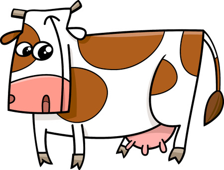 milker: Cartoon Illustration of Funny Cow Farm Animal Character