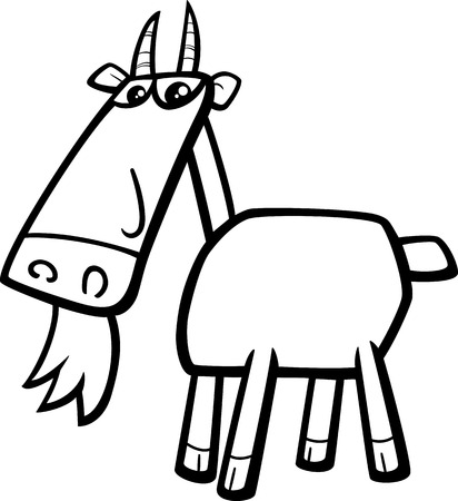 smiling goat: Black and White Cartoon Illustration of Goat Farm Animal Character for Coloring Book