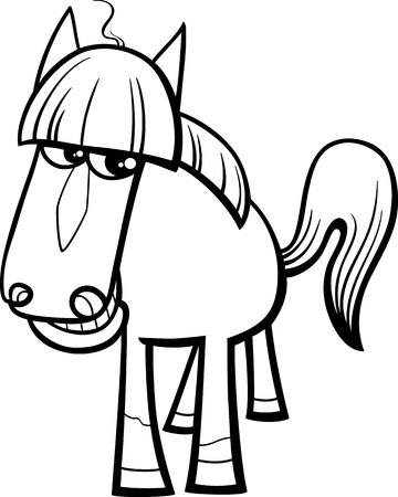 country farms: Black and White Cartoon Illustration of Horse Farm Animal Character for Coloring Book