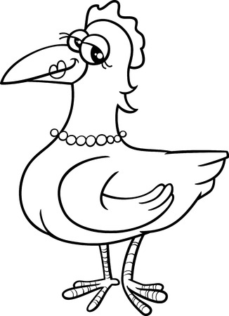 Black And White Cartoon Illustration Of Hen Farm Bird Animal Character For Coloring Book Vector
