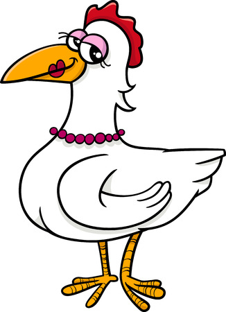 cartoon chicken: Cartoon Illustration of Hen Farm Bird Animal Character