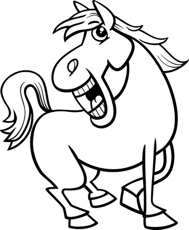 art book: Black and White Cartoon Illustration of Funny Horse Farm Animal Character for Coloring Book
