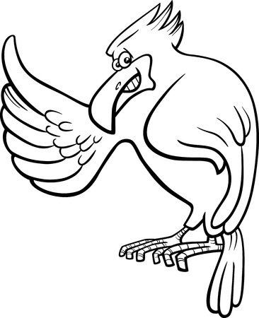 cartoon eagle: Black and White Cartoon Illustration of Eagle Wild Bird Animal Character for Coloring Book Illustration