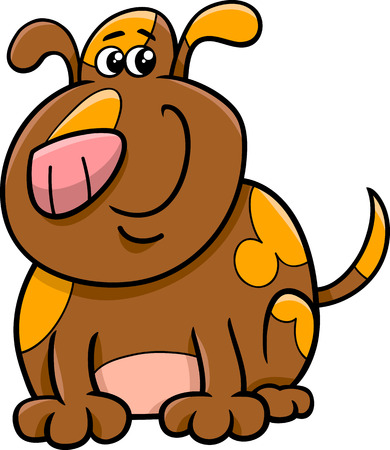 spotted dog: Cartoon Illustration of Funny Spotted Dog or Puppy Illustration