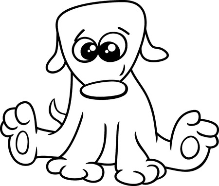 little dog: Black and White Cartoon Illustration of Funny Little Dog or Puppy for Coloring Book