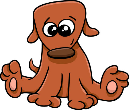 little dog: Cartoon Illustration of Funny Little Dog or Puppy Illustration