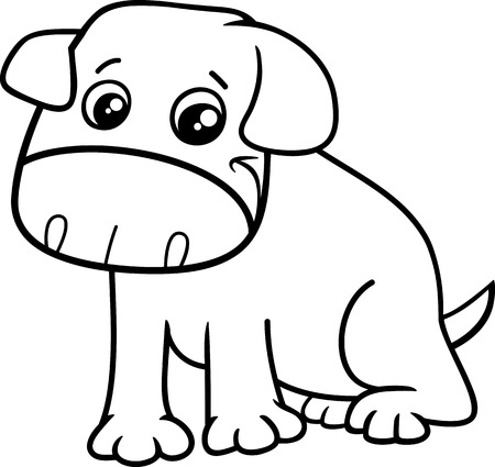 black dog: Black and White Cartoon Illustration of Funny Little Dog or Puppy for Coloring Book