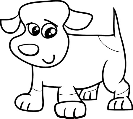 spotted dog: Black and White Cartoon Illustration of Cute Little Spotted Dog or Puppy for Coloring Book