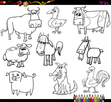 farm animals: Coloring Book Cartoon Illustration Set of Farm Animals Characters