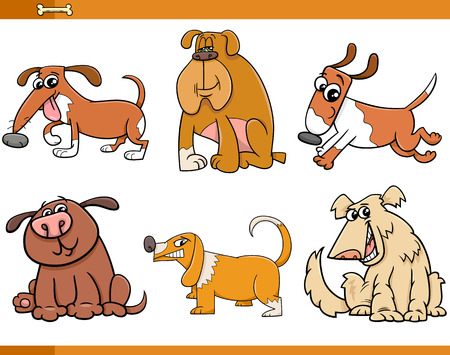 hairy: Cartoon Illustration of Dogs Pets Animal Characters Set