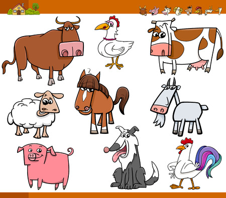 horns: Cartoon Illustration Set of Funny Farm Animals Characters