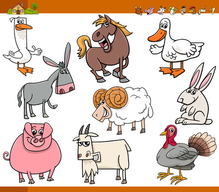 animal farm duck: Cartoon Illustration Set of Funny Farm Animals Characters