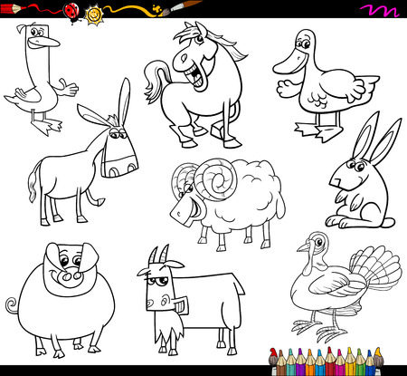 animals collection: Coloring Book Cartoon Illustration Collection of Farm Animals Characters