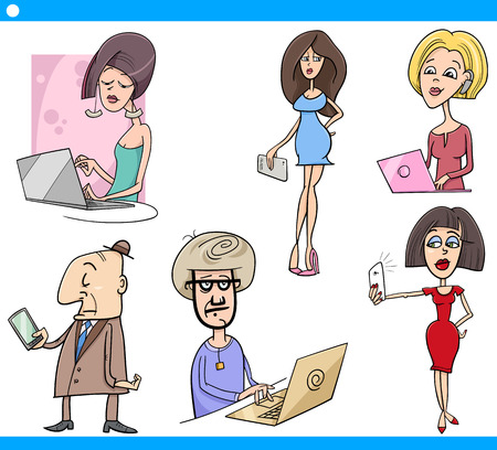 caricature woman: Cartoon Illustration Set of People with New Technology Electronic Devices Illustration