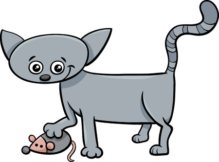 cat toy: Cartoon Illustration of Cat or Kitten Animal Character with Toy Mouse