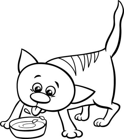 Schwarz Und Weiß Karikatur Illustration Von Katze Oder Ein Kätzchen ...