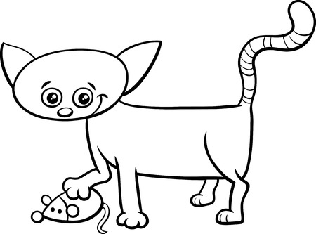 frisky: Black and White Cartoon Illustration of Cat or Kitten Animal Character with Toy Mouse for Coloring Book