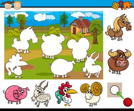 preescolar: Ejemplo de la historieta de la tarea educativa para ni�os en edad preescolar con caracteres Animal de granja