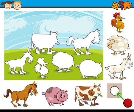 farm animal: Cartoon Illustration of Educational Matching Game for Preschool Children with Farm Animal Characters