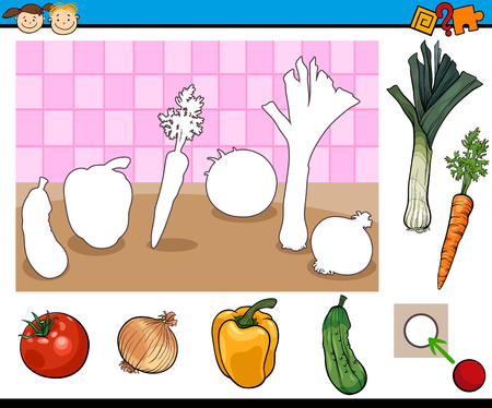 Cartoon Illustration of Educational Game for Preschool Children with Vegetables