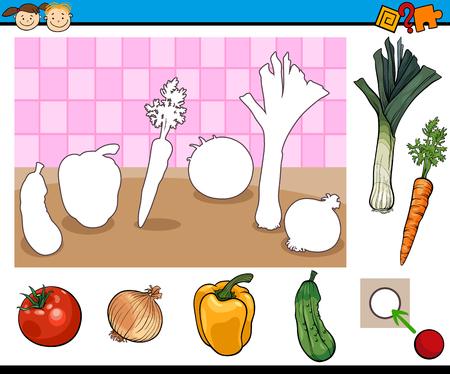 Illustration de bande dessinée de jeu éducatif pour les enfants d'âge préscolaire aux légumes Banque d'images - 45852746