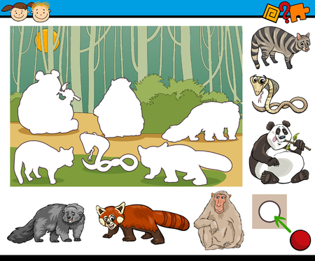 brain game: Cartoon Illustration of Educational Game for Preschool Kids with Animal Characters