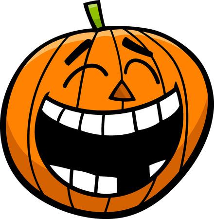 sneer: Cartoon Illustration of Laughing Jack Lantern Halloween Pumpkin Illustration