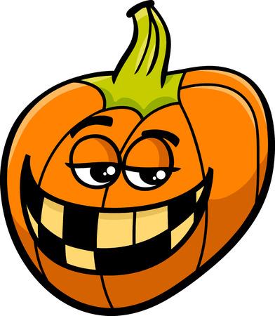 sneer: Cartoon Illustration of Funny Halloween Pumpkin or Jack Lantern