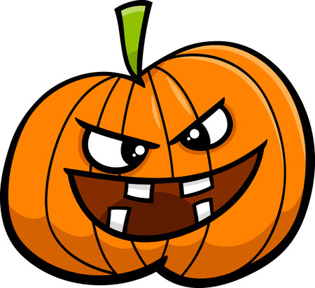 sneer: Cartoon Illustration of Jack Lantern Halloween Pumpkin Illustration