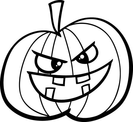 sneer: Black and White Cartoon Illustration of Jack Lantern Halloween Pumpkin for Coloring Book