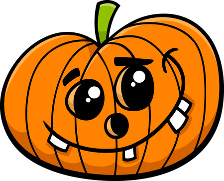 sneer: Cartoon Illustration of Funny Jack Lantern Halloween Pumpkin Clip Art Illustration