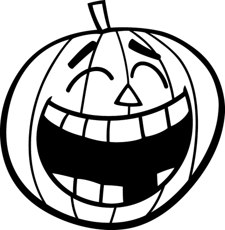 sneer: Black and White Cartoon Illustration of Laughing Halloween Pumpkin Clip Art for Coloring Book