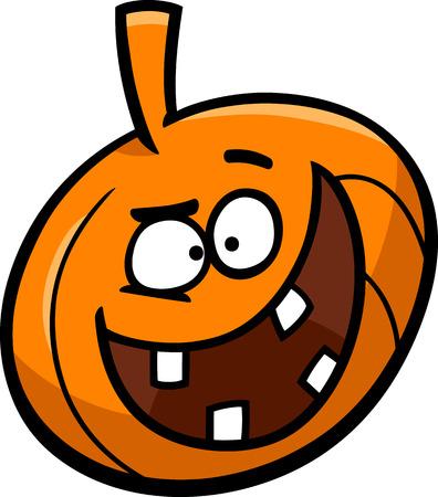sneer: Cartoon Illustration of Funny Halloween Pumpkin Clip Art Illustration
