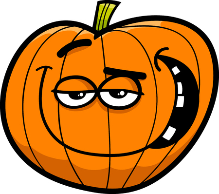 sneer: Cartoon Illustration of Halloween Pumpkin or Funny Jack Lantern Illustration