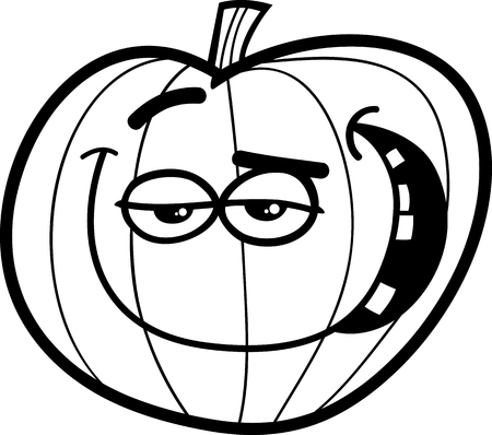 sneer: Black and White Cartoon Illustration of Halloween Pumpkin for Coloring Book