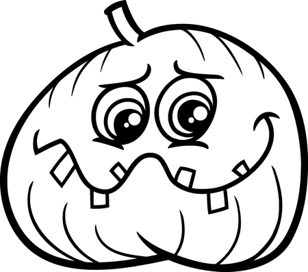 sneer: Black and White Cartoon Illustration of Halloween Jack Lantern Pumpkin Coloring Page